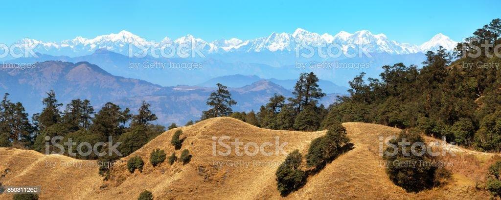 Mountain panoramic view of great himalayan range stock photo