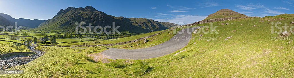 Mountain pass English Lake District vibrant summer panorama royalty-free stock photo