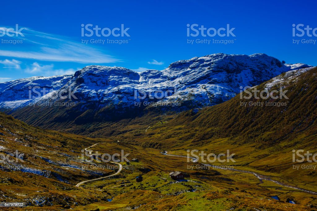 Mountain pass in Norway stock photo