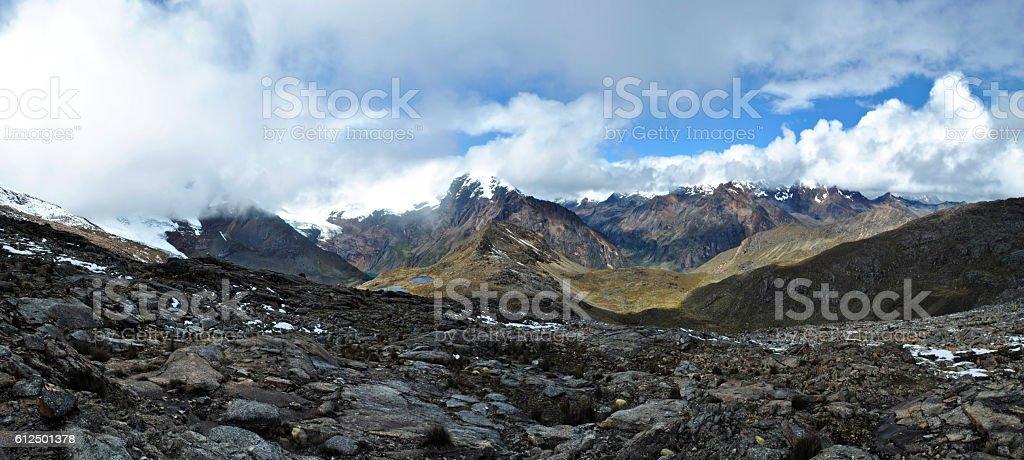 Mountain pass panorama, Huapi, Peru. stock photo