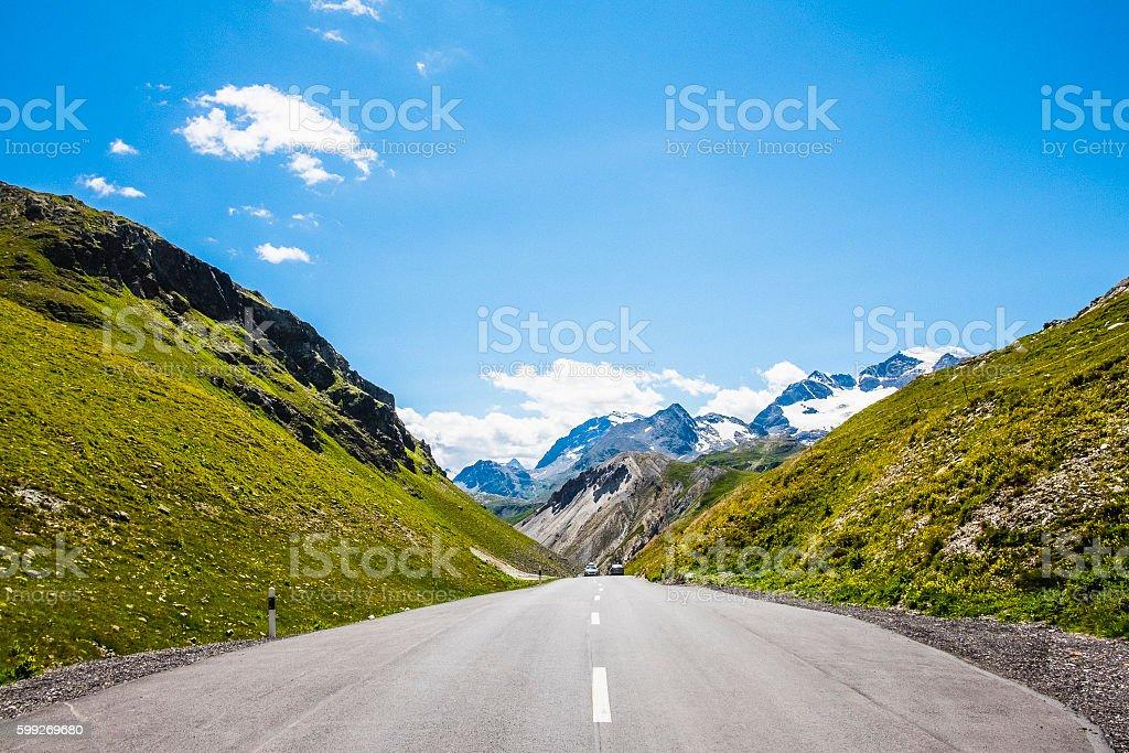 Mountain pass road stock photo