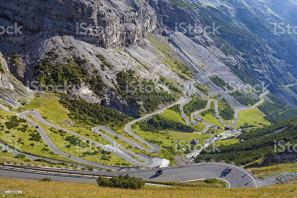 mountain pass - passo stelvio stock photo
