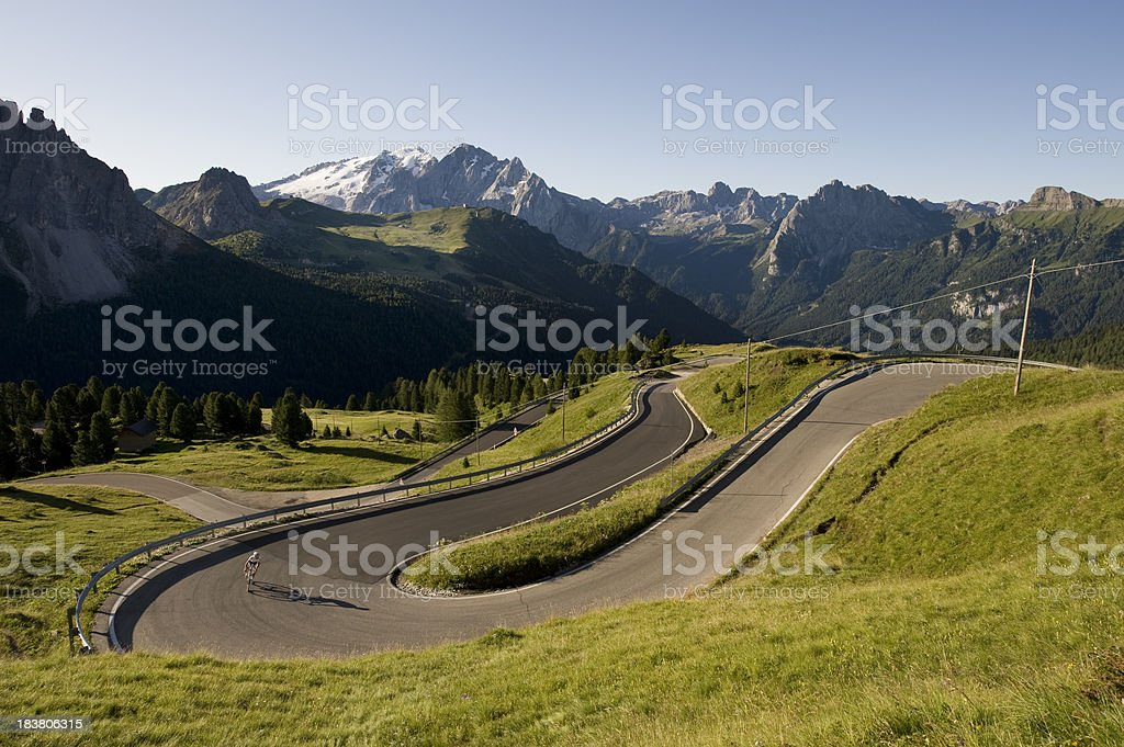 Mountain pass, with a sporty racing driver stock photo