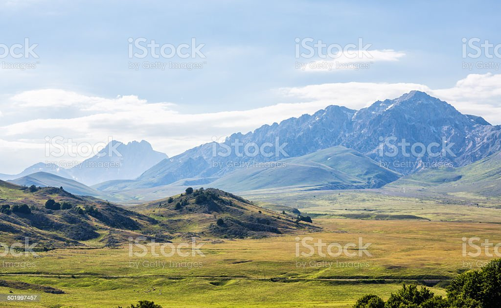 Mountain pasture Campo Imperatore, Province of l'Aquila, Abruzzi Italy stock photo