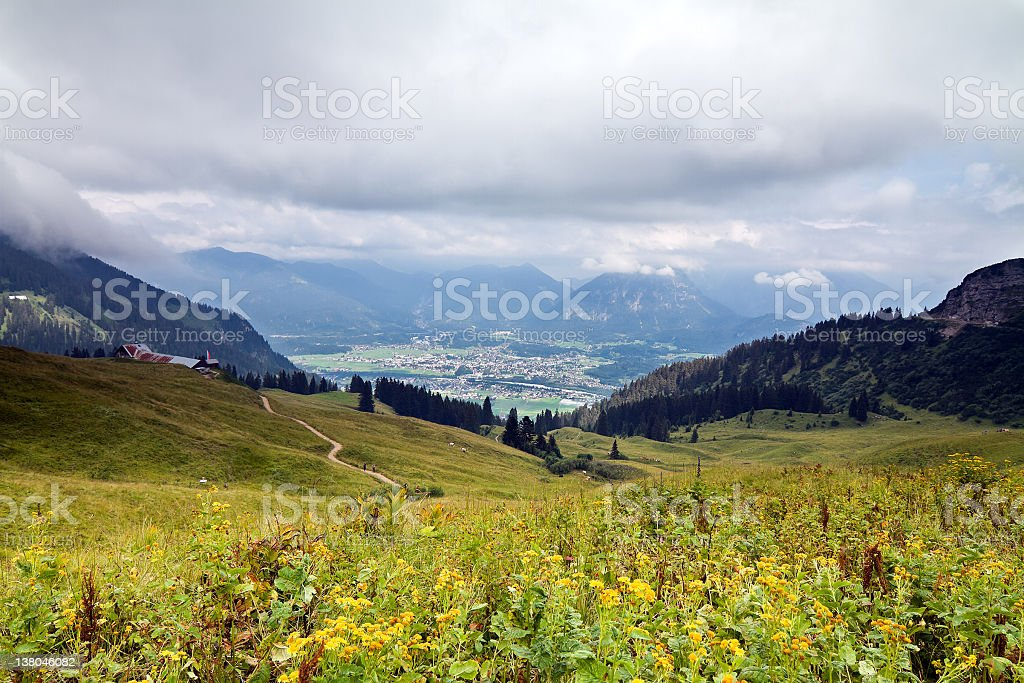mountain pasture Lechaschau royalty-free stock photo