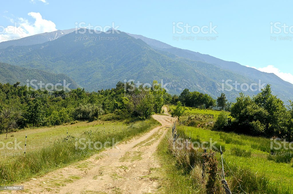 mountain path in front of the Canigou stock photo