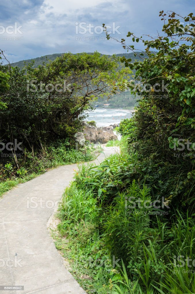 Mountain path to the beach stock photo