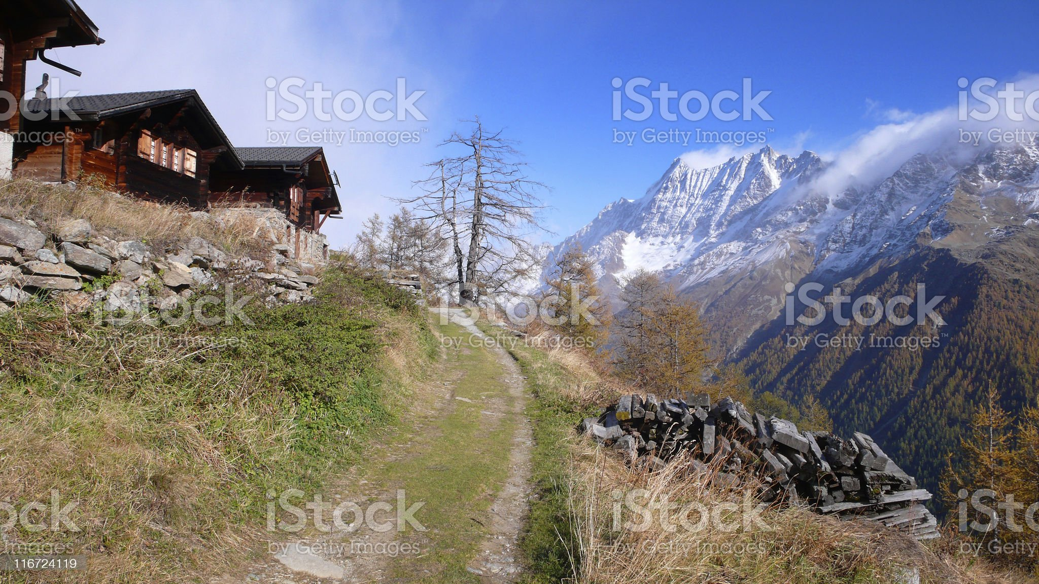 Mountain Path Winding Through Swiss Chalets Village royalty-free stock photo