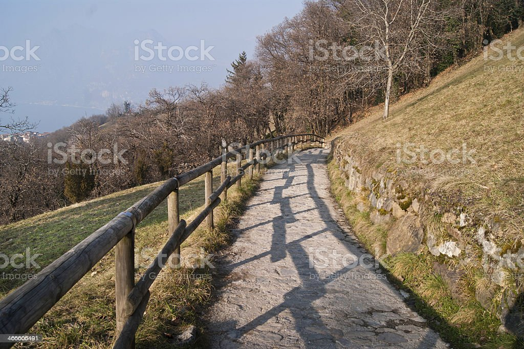 Mountain path with wooden fence stock photo