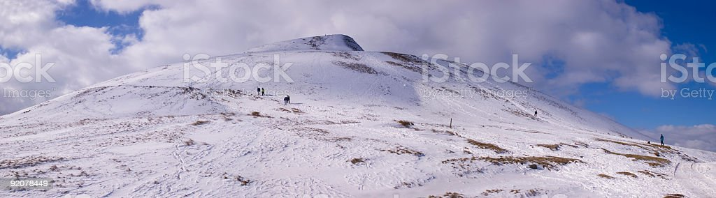 Mountain peak and climbers royalty-free stock photo