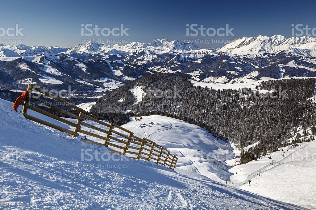 Mountain Peak and Ski Slope near Megeve in French Alps royalty-free stock photo