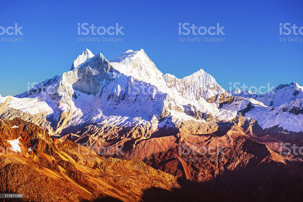 mountain peak at sunset royalty-free stock photo
