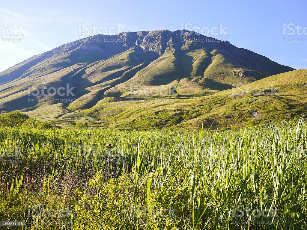Mountain peak from Col Du Lautaret, Alps Mountains, France royalty-free stock photo