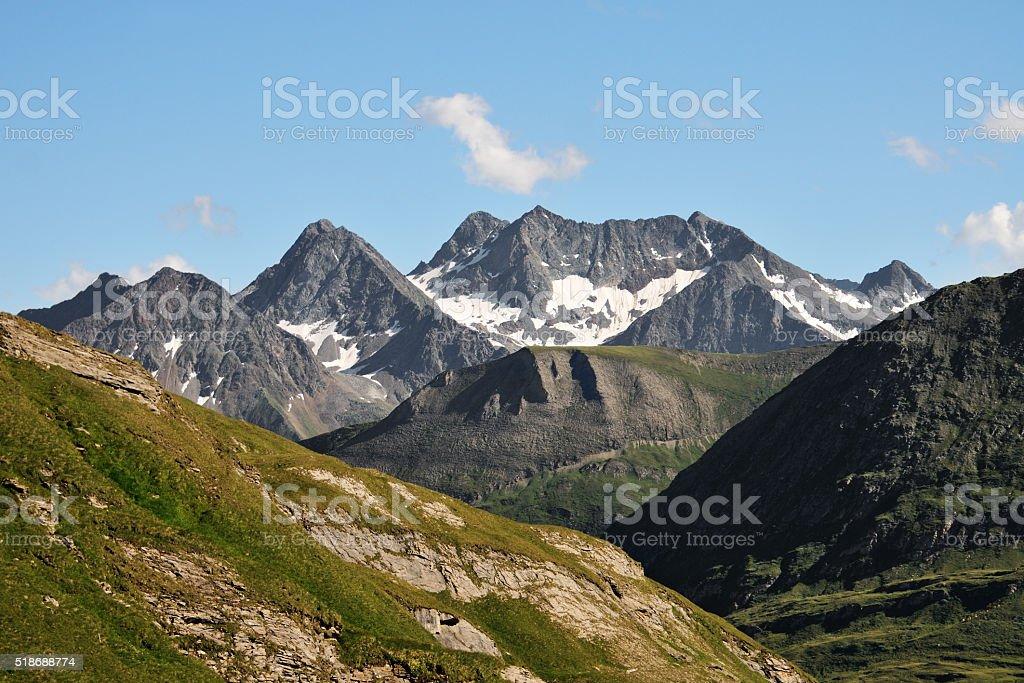 Mountain peak in Alps stock photo