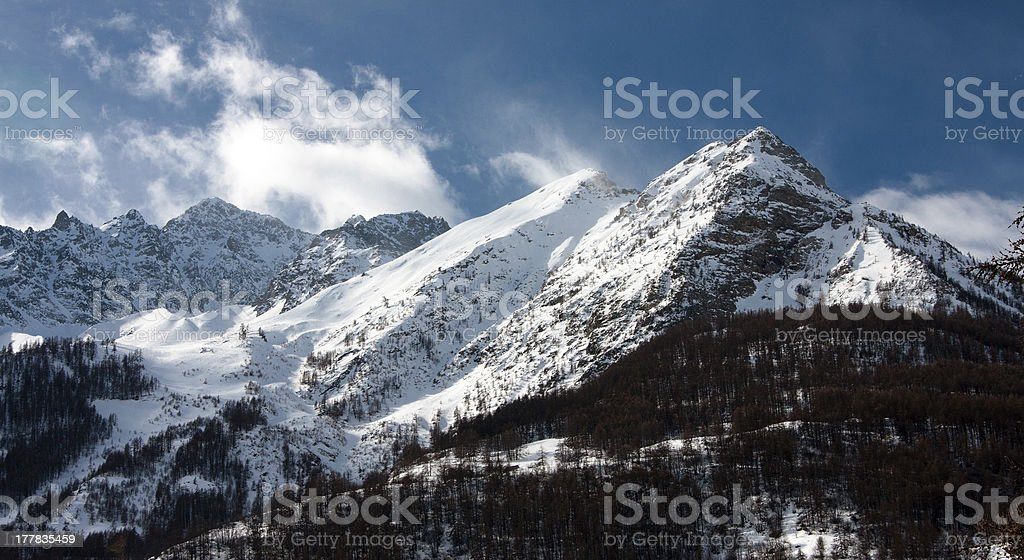 Mountain peak in High Alpes stock photo