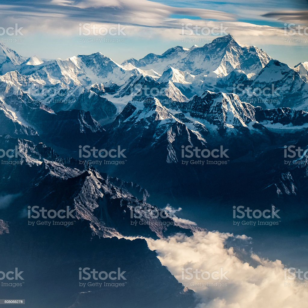 Mountain peak in Nepal Himalaya stock photo