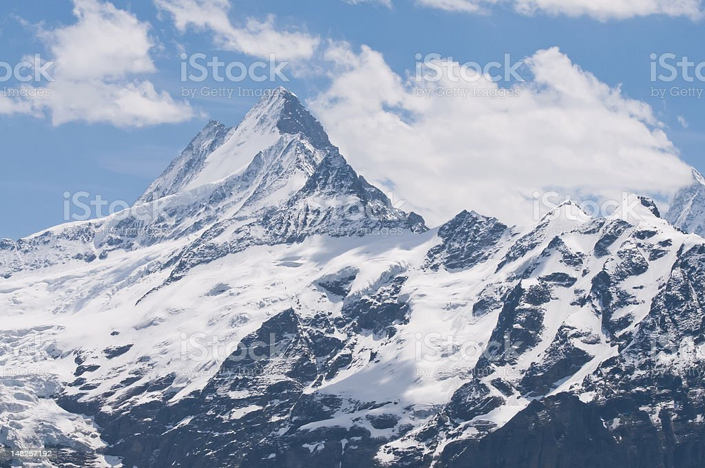 Mountain peak in the Swiss Alps stock photo