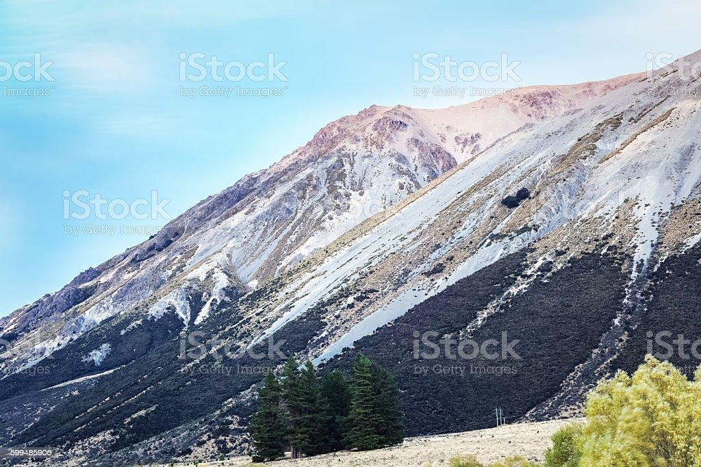 mountain peak with snow stock photo