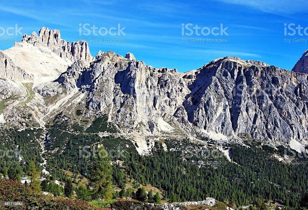 mountain peaks above Passo Falzarego in Dolomites stock photo