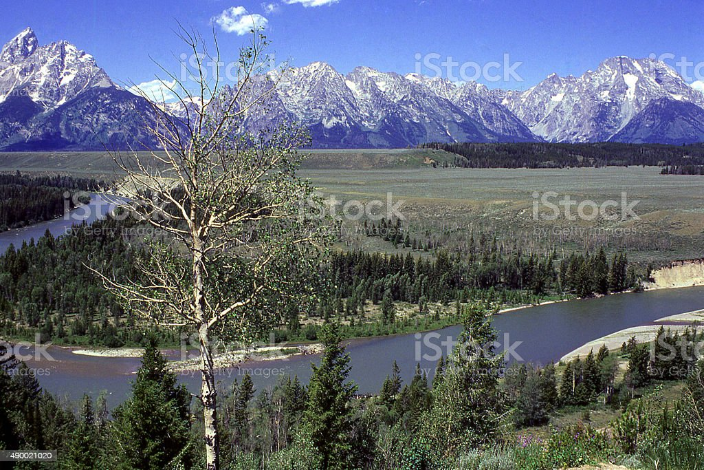 Mountain Peaks above Snake River Grand Teton National Park Wyoming stock photo