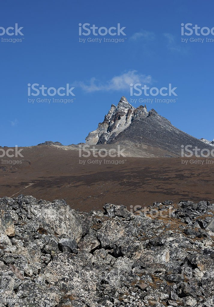 Mountain peaks and rocks in Himalayas royalty-free stock photo