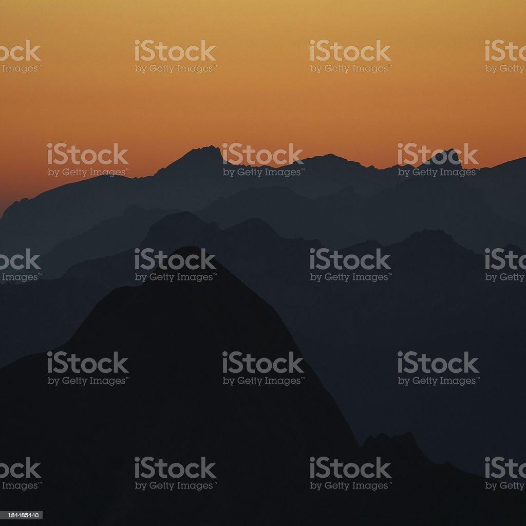 Mountain peaks at sunset royalty-free stock photo