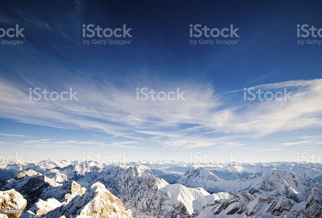 Mountain peaks covered with snow royalty-free stock photo