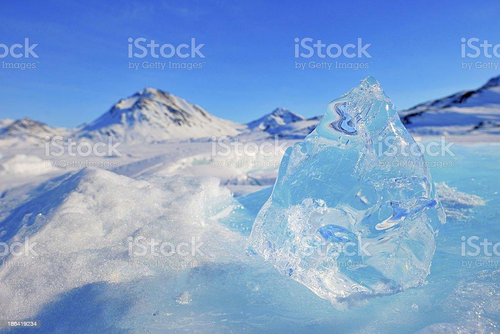 mountain peaks in greenland stock photo