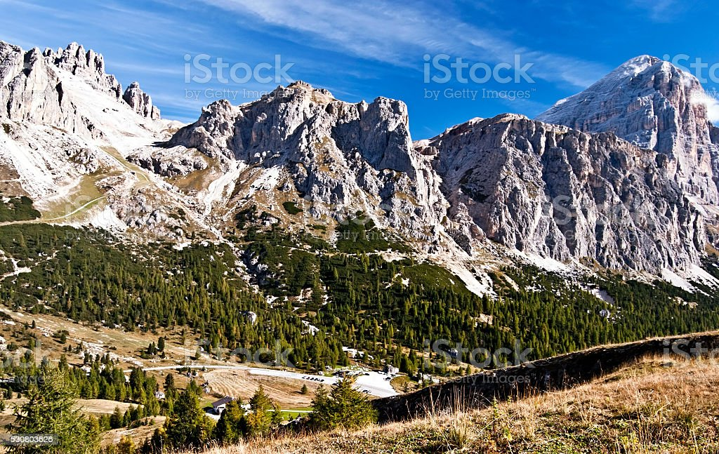mountain peaks in Tofane mountain group in Dolomites stock photo