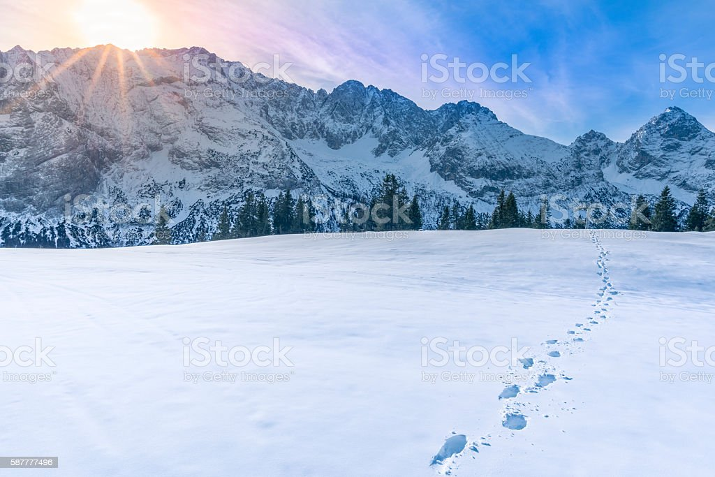 Mountain peaks in winter stock photo