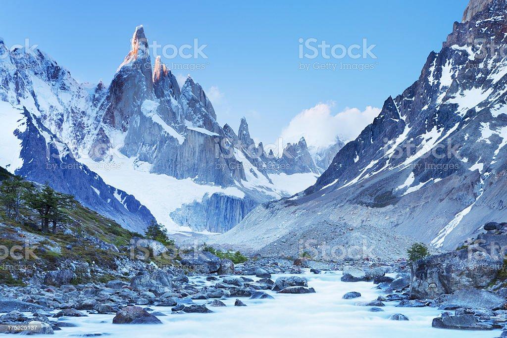 Mountain peaks of Cerro Torre, Patagonia, Argentina at sunset stock photo