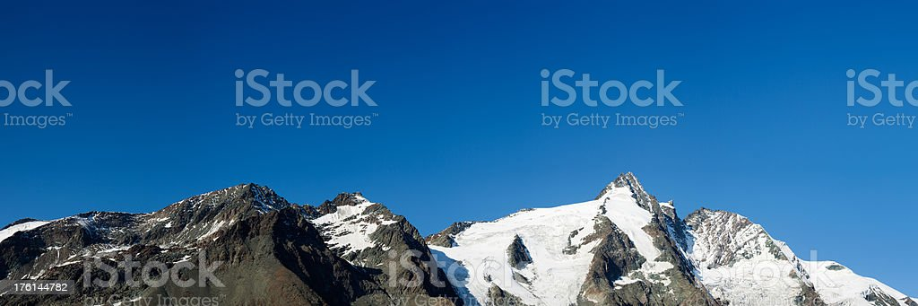 Mountain peaks panoramic on a sunny day, Grossglockner, Austria royalty-free stock photo