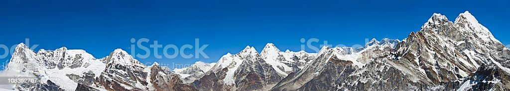 Mountain peaks super panorama Mt Everest high altitude Himalayas Nepal stock photo