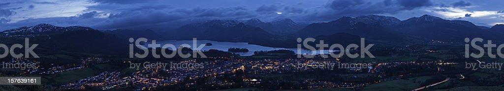 Mountain peaks town lights panorama Keswick Lake District Cumbria UK royalty-free stock photo