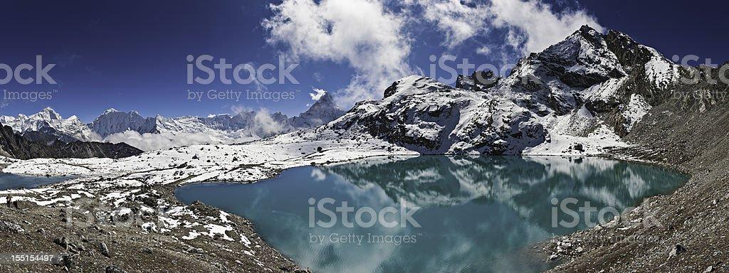 Mountain peaks turquoise lake Himalayas Nepal royalty-free stock photo
