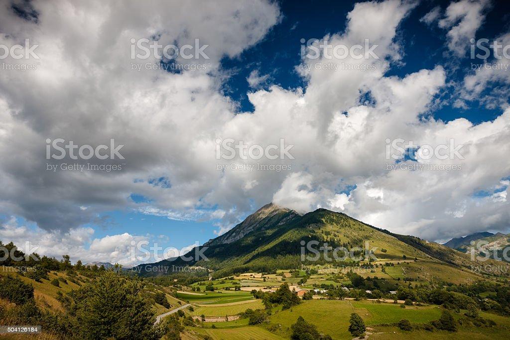 Mountain Petite Autane, Village Les Faix in Summer, Champsaur, France stock photo