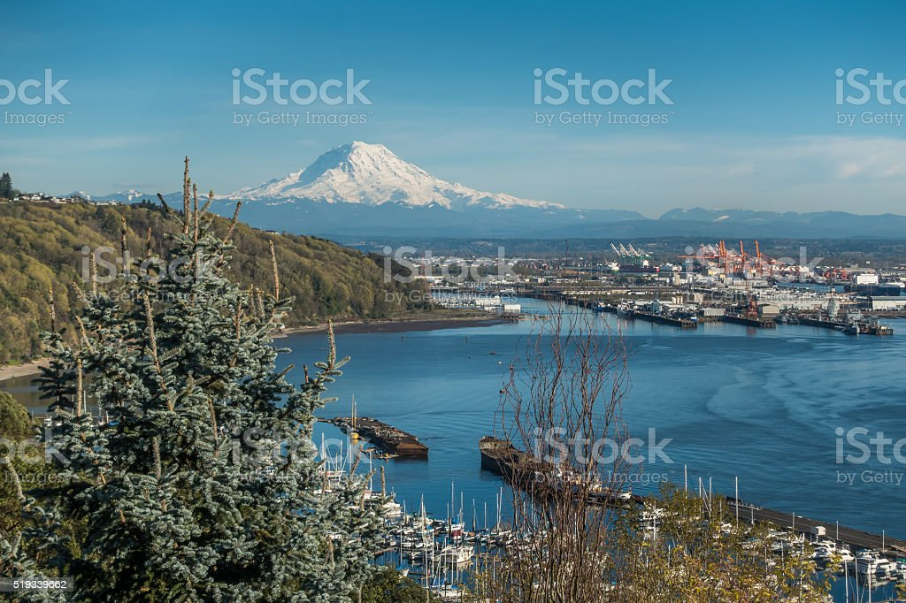 Mountain Port And Marina stock photo