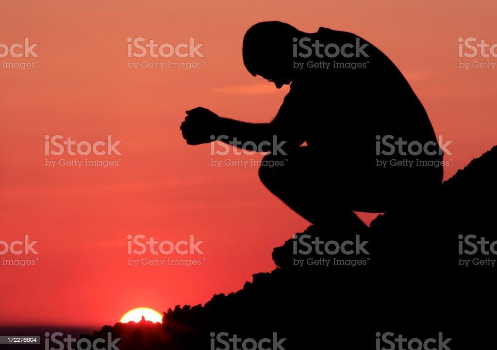 Mountain Prayer Silhouette stock photo