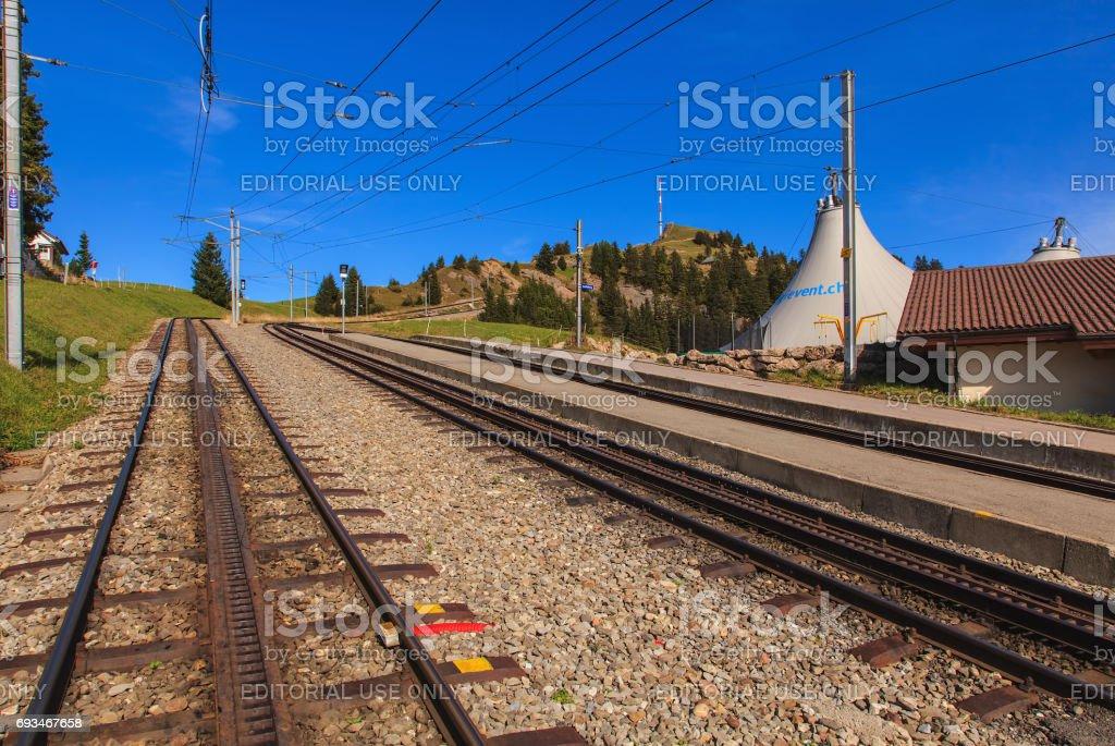 Mountain railroad on Mt. Rigi in Switzerland stock photo