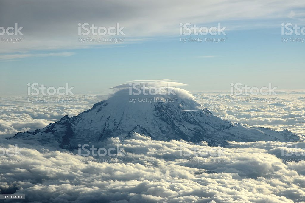 Mountain Rainer aerial photo royalty-free stock photo