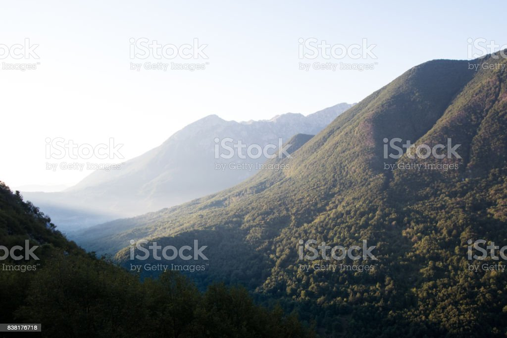 Mountain range at dawn in abruzzo with barrea lake in the background. stock photo