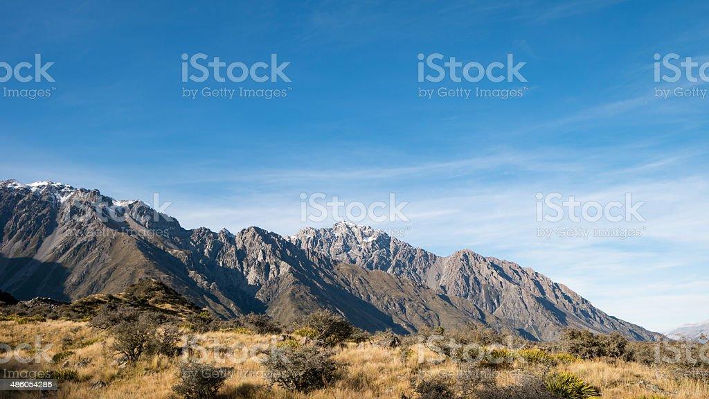 Mountain Range at Tasman Valley Walk Track, Aoraki, New Zealand stock photo