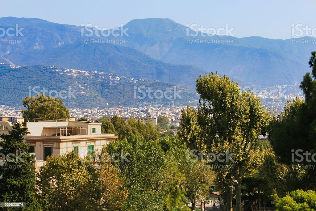 Mountain Range, Green Trees and City of Pompeii, Campania, Italy stock photo