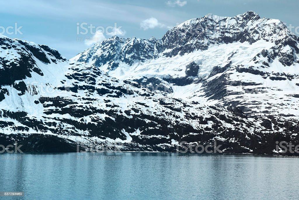 Mountain range in Glacier Bay National Park, Alaska stock photo