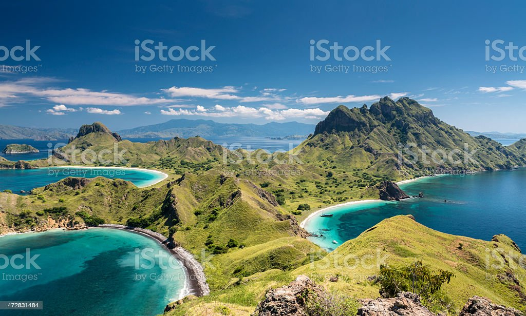 Mountain range in Komodo National Park in Indonesia stock photo