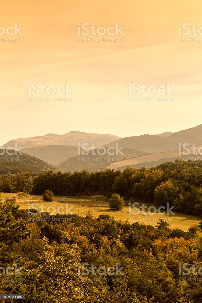 Mountain range in Provence, France stock photo