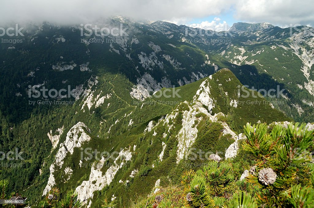 Mountain range in Slovenian Alps stock photo