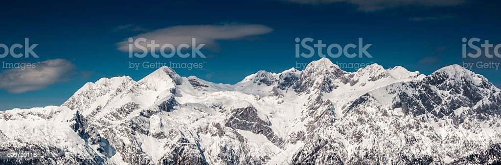 Mountain Range In Winter stock photo