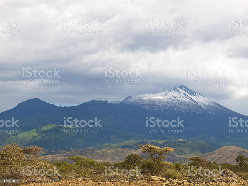 Mountain range under cloudy sky at Mt. Menu. stock photo