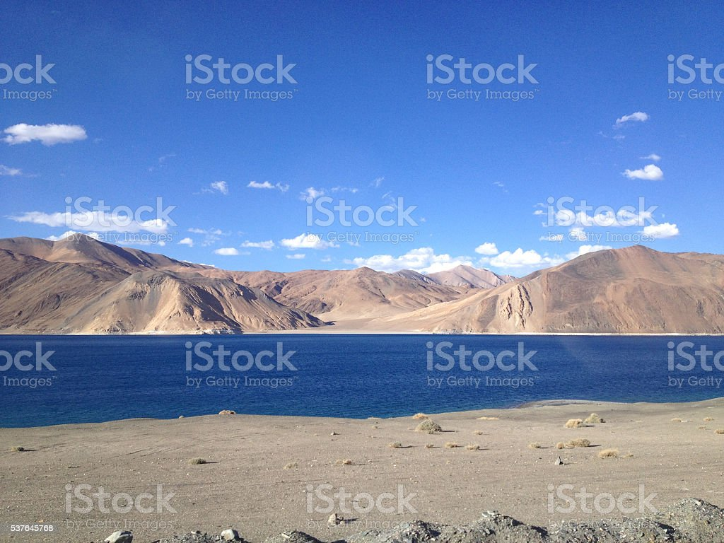 Mountain range view at Pangong Lake, Leh, Ladakh, India stock photo